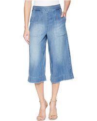 Splendid - Cotton Twill Cropped Wide Leg Pant Chambray - Lyst