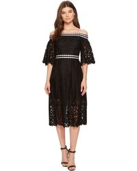 Laundry by Shelli Segal - Off The Shoulder Midi Lace Dress With Scallop Hem - Lyst