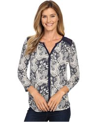 Lucky Brand - Plus Size Printed Woven Mix Top - Lyst