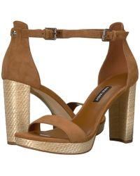 22de534ec9e Lyst - Nine West Orange Dempsey Floral Satin Block Heel Sandals in ...