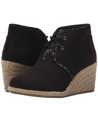 19af0cc626bc Lyst - TOMS Drizzle Grey Suede Perforated Leaf Women s Desert Wedges ...