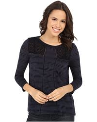 Lucky Brand | Shadow Stripe Mix Top | Lyst