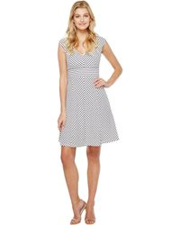 dcef9595108 Lyst - Adrianna Papell Cap Sleeve A-line Dress With Sheer Inset ...