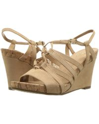 192f66bf3aa792 Lyst - Clarks Spiced Poppy Leather Wedge Sandals