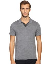 Vince - Wool Silk Jersey Short Sleeve Polo With Tipping - Lyst