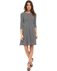 Donna Morgan - 3/4 Sleeve Wavy Knit Fit And Flare Dress - Lyst