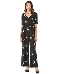 Vince Camuto - Elbow Sleeve Tossed Flowers V-neck Jumpsuit (rich Black) Jumpsuit & Rompers One Piece - Lyst