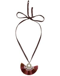 Chan Luu - Pendant Necklace On Chiffon With Multicolored Tassel Charm - Lyst