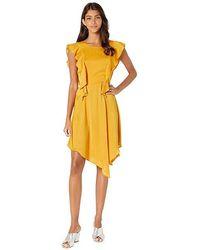 4d57f4b47 BCBGeneration Cocktail Flutter Asymmetrical Woven Dress (golden Rod)  Clothing