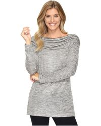 Nally & Millie - Gold Jacquard Shirred Shoulder Tunic With Side Slits - Lyst