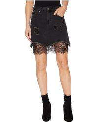 Romeo and Juliet Couture - Distressed Denim Mini Skirt W/ Lace - Lyst