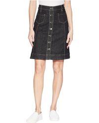 Chaps - Button-front Denim Skirt - Lyst