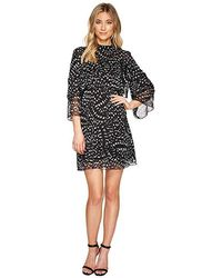 Catherine Malandrino - 3/4 Sleeve Large Ruffle A-line Dress (texture Animal Black/white) Dress - Lyst