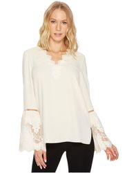 Catherine Malandrino - Long Sleeve Blouse W/ Lace Applique & Trim - Lyst