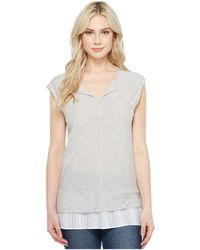 Two By Vince Camuto - Split-neck Knit Tee W/ Seersucker Shirttail - Lyst