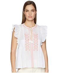 0d49a1b5801 Kate Spade - Mosaic Embroidered Tassel Top (fresh White) Clothing - Lyst