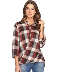 Blank NYC | Multi Plaid Drape Front Shirt In Whiskey Brown | Lyst