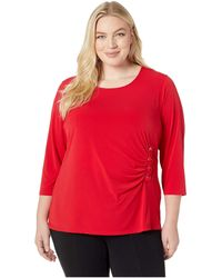 68cfa6cd Calvin Klein Plus Size 3/4 Sleeve Knit With Lacing (rouge) Women's ...