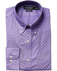 Lauren by Ralph Lauren - Slim Fit Non Iron Poplin Mini Paisley Print Spread Collar Dress Shirt - Lyst