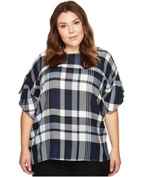 Two By Vince Camuto - Plus Size Ruffled Short Sleeve Relaxed Broken Plaid Tee - Lyst