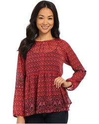 Two By Vince Camuto - Festive Foulard Y-neck Peasant Blouse - Lyst