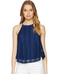 c45741659c5f3a Lyst - Calvin Klein Ruffle Front Sleeveless Shell in Blue