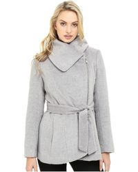 Jessica Simpson - Brushed Wool Touch Coat W/ Asymmetrical Zip - Lyst