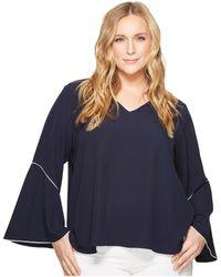 Lyst Calvin Klein Plus Size Split Neck Pleat Front Chiffon Blouse