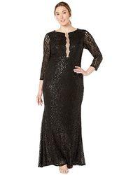 28d7f64c44806 Alex Evenings Plus Beaded Long Sleeve Cowl Back Dress in Black - Lyst