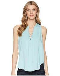 Stetson - 1580 Rayon Crepe Laced Loose Tank Top (blue) Clothing - Lyst