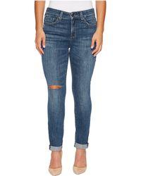NYDJ - Petite Girlfriend Jeans W/ Knee Slit In Crosshatch Denim In Newton Knee Slit - Lyst