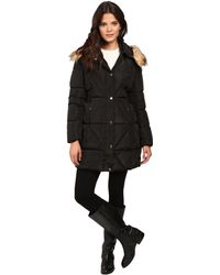 Jessica Simpson - Cinched Waist Puffer W/ Hood And Removable Faux Fur - Lyst
