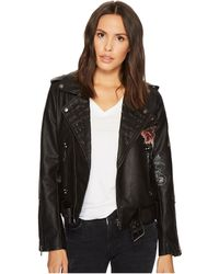 Blank NYC - Floral Vegan Leather Moto Jacket In Love And Leave - Lyst
