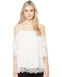 8c439ebc83013 Vince Camuto - Elbow Sleeve Cold-shoulder Organic Lace Blouse - Lyst