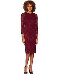 cf7b5123b7f26c Lauren by Ralph Lauren - Floral Stretch Lace Dexter 3/4 Sleeve Day Dress (