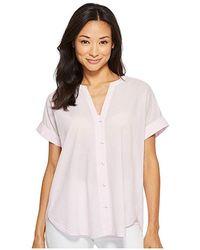 a32d62840 NYDJ - Short Sleeve Boyfriend Shirt (thin Stripe Primrose) Clothing - Lyst