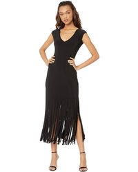 Bebe - Raw Fringe Hem Dress (black) Women's Dress - Lyst