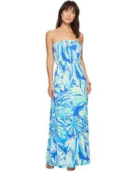 NWT LILLY PULITZER BECKON BLUE PALM PASSAGE MARLISA MAXI DRESS