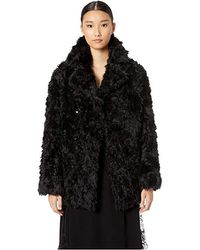 606497a9628 Save The Duck Long Nylon Coat With Fake Fur in Blue - Lyst