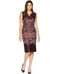 Eci - Sleeveless Puff Printed Scuba Sheath Dress - Lyst