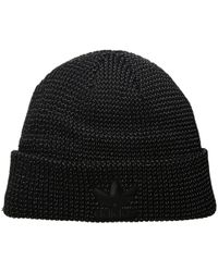 2c02aa90eb3431 Lyst - adidas Originals Trefoil Ii Knit Beanie in Black for Men