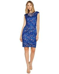 221633cdf6e Adrianna Papell Chiffon Fit And Flare Dress With Pleated Ruffle Collar  V-neckline (steel Blue) Dress in Blue - Save 33% - Lyst
