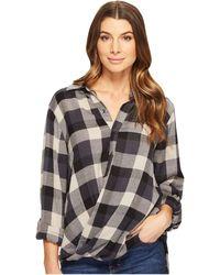 Blank NYC - Multi Plaid Drape Front Shirt In Black Watch - Lyst