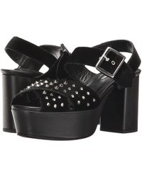 The Kooples - Jessie - Mixed Velvet And Leather Sandals With Studs - Lyst