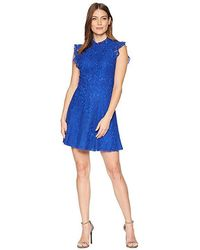 Alexia Admor - Ruffle Sleeve Fit Flare Lace Dress (blue Mazarine) Dress - Lyst