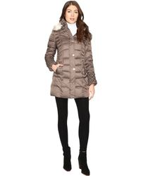 Betsey Johnson - Quilted Puffer W/ Fur Hood - Lyst