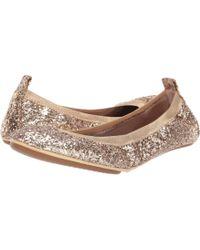 b1762543e390 Lyst - Yosi Samra Pyrite Sandrine Shimmer Ballet Flats