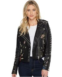 Blank NYC - Studded Floral Embroidered Moto Jacket In Budding Romance - Lyst