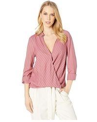 c4c99a784d2a8a BCBGeneration - Surplice Long Sleeve Woven Top (pink) Clothing - Lyst