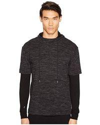 ATM - Mixed Media Double Sleeve Hoodie (black Blast) Sweatshirt - Lyst